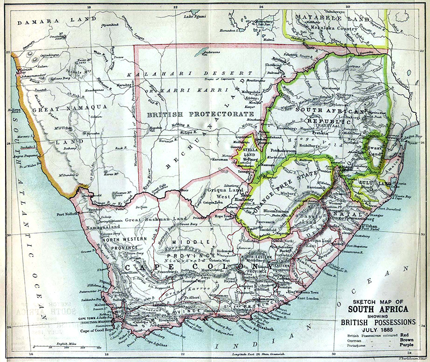 Südliches Afrika, Landkarte von 1885