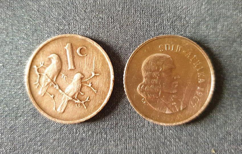 Alte südafrikanische 1-Cent-Münze