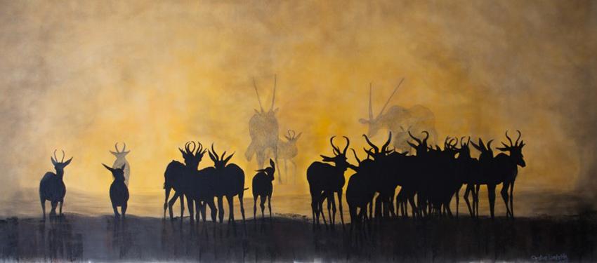 Springbok, Kohlezeichnung von Christine Lamberth