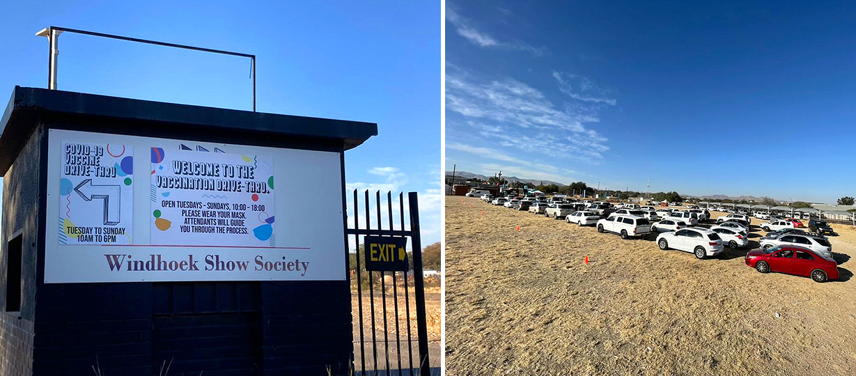 Durchfahrts-Impfstelle in Windhoek